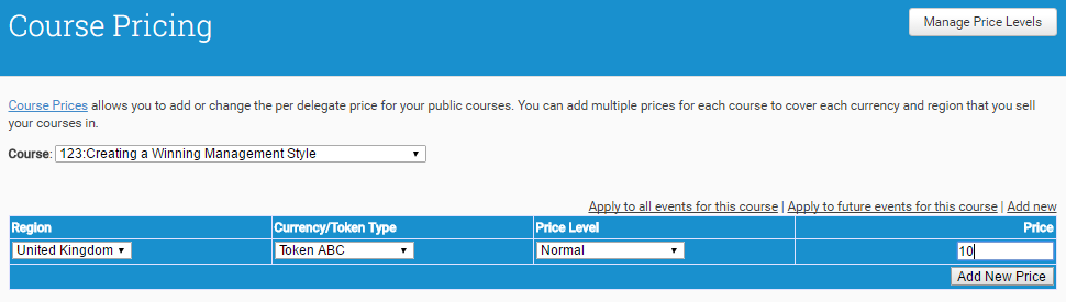 You can set default currency prices or Training Tokens per Course, per Region