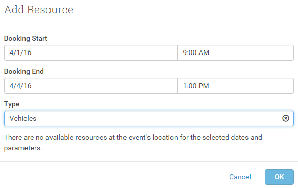 If Resources are booked out, or there's no Resources set, a message will be displayed