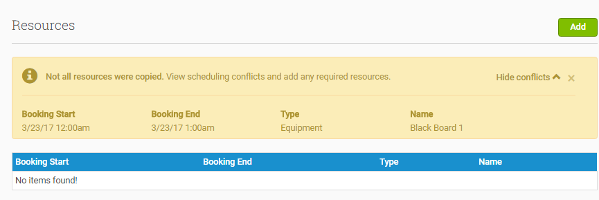 Show more information about Resources conflicts by clicking 'Show Conflicts'