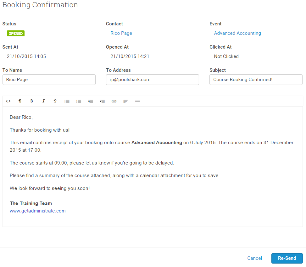 Click on the sending status to see the email preview, where you can re-send communications