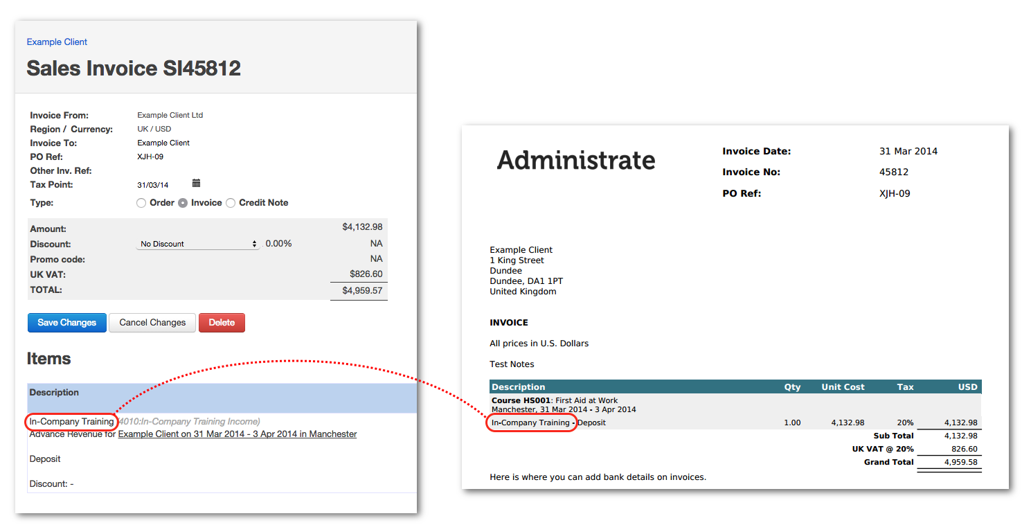 Show item name on the invoice PDF