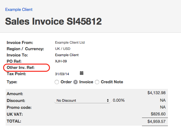 Invoices Administrate - Invoice reference