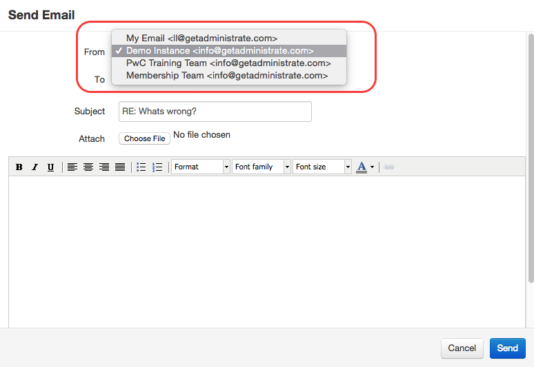 You can select which email address to send a reply from