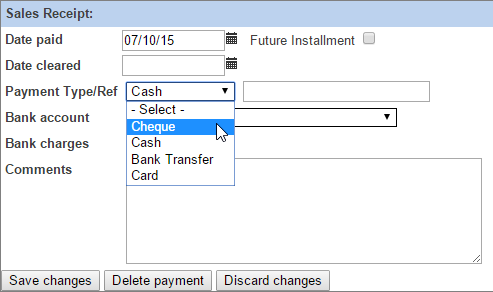 Payment Types are selectable when you Receive Payments against Invoices