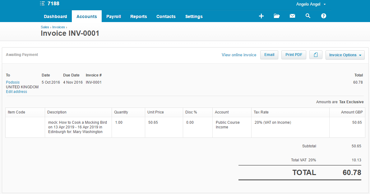 See your Invoice in Xero after synchronisation