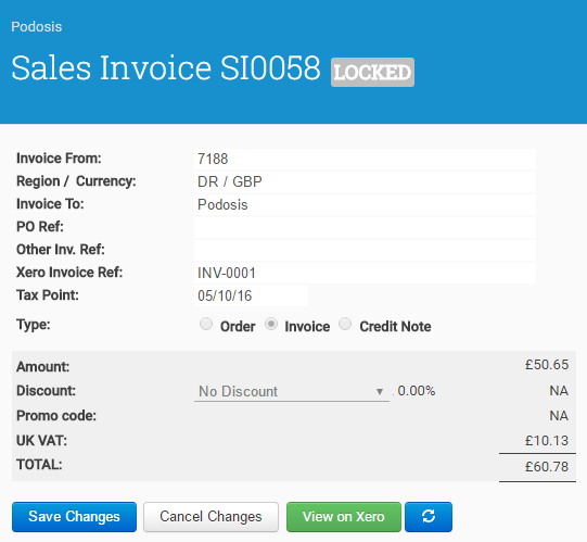 Once successfully synchronised, Xero controls will appear on the Invoice screen