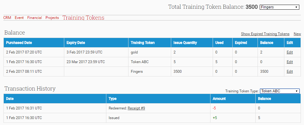 View the Account's Training Token Balance and Transaction History