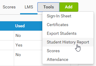 Click tools to access the Student History Report