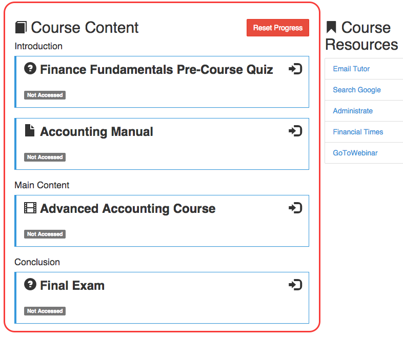 How Course Content looks from the LMS