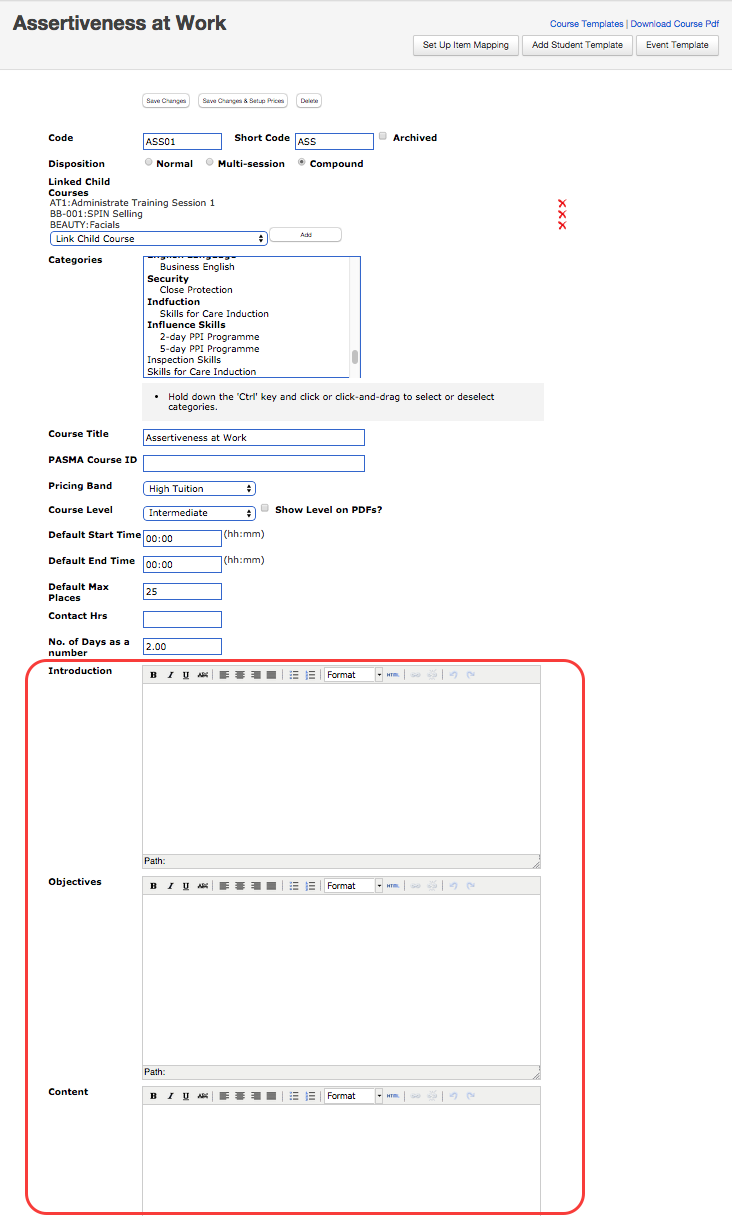 Defined fields become editable fields in course templates