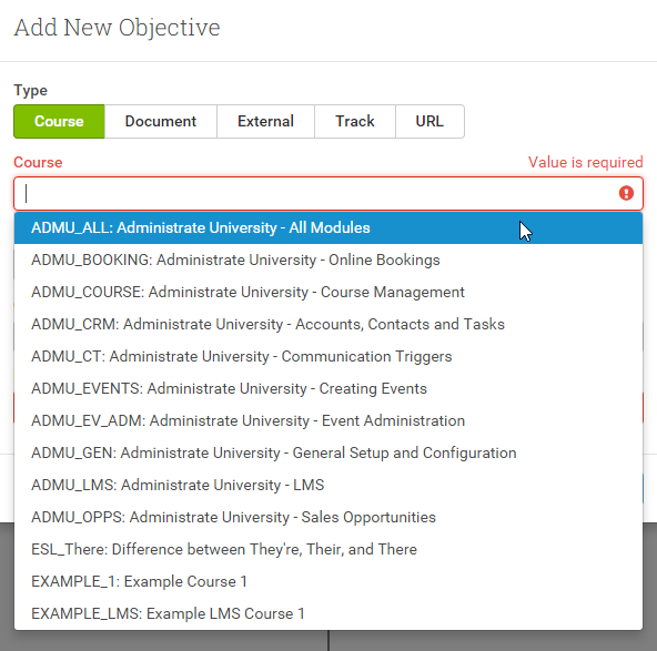 Add your Administrate Courses as Objectives in your Learning Tracks