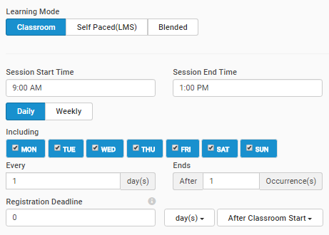 Set your default Learning Mode and Session days and times in the Schedule tab