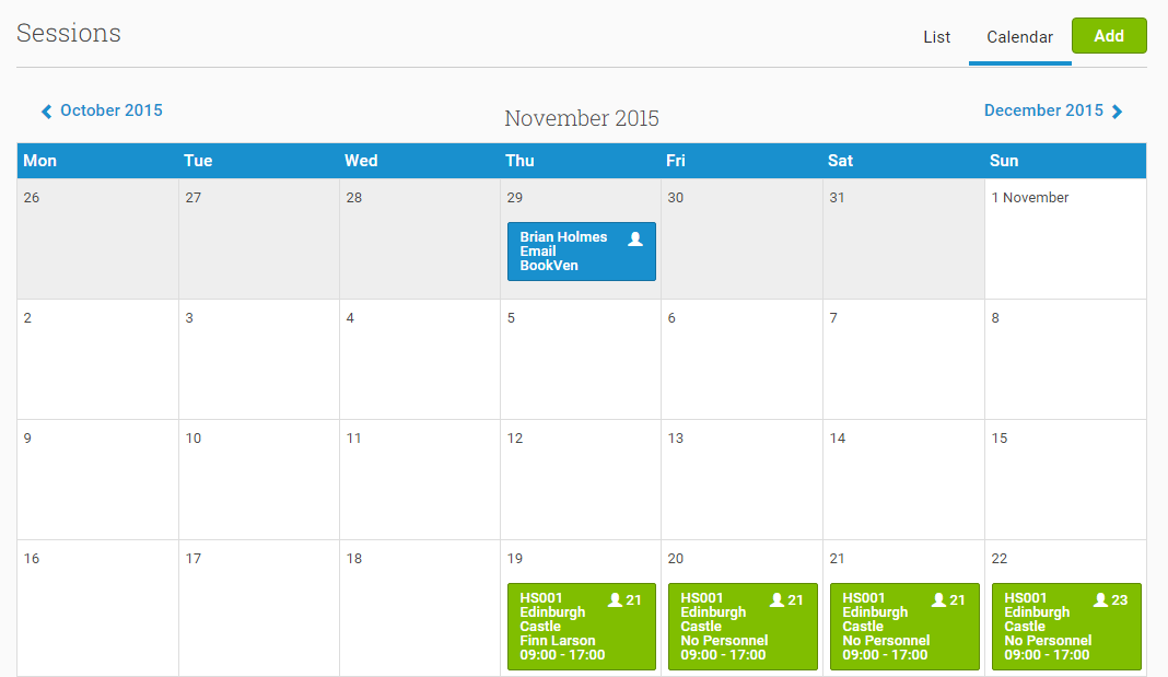 You can view Sessions in a List format (default) or in a Calendar view (pictured)