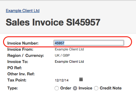 Editable Invoice Number