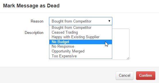 Selecting a Lead Dead Reason when marking a message as dead