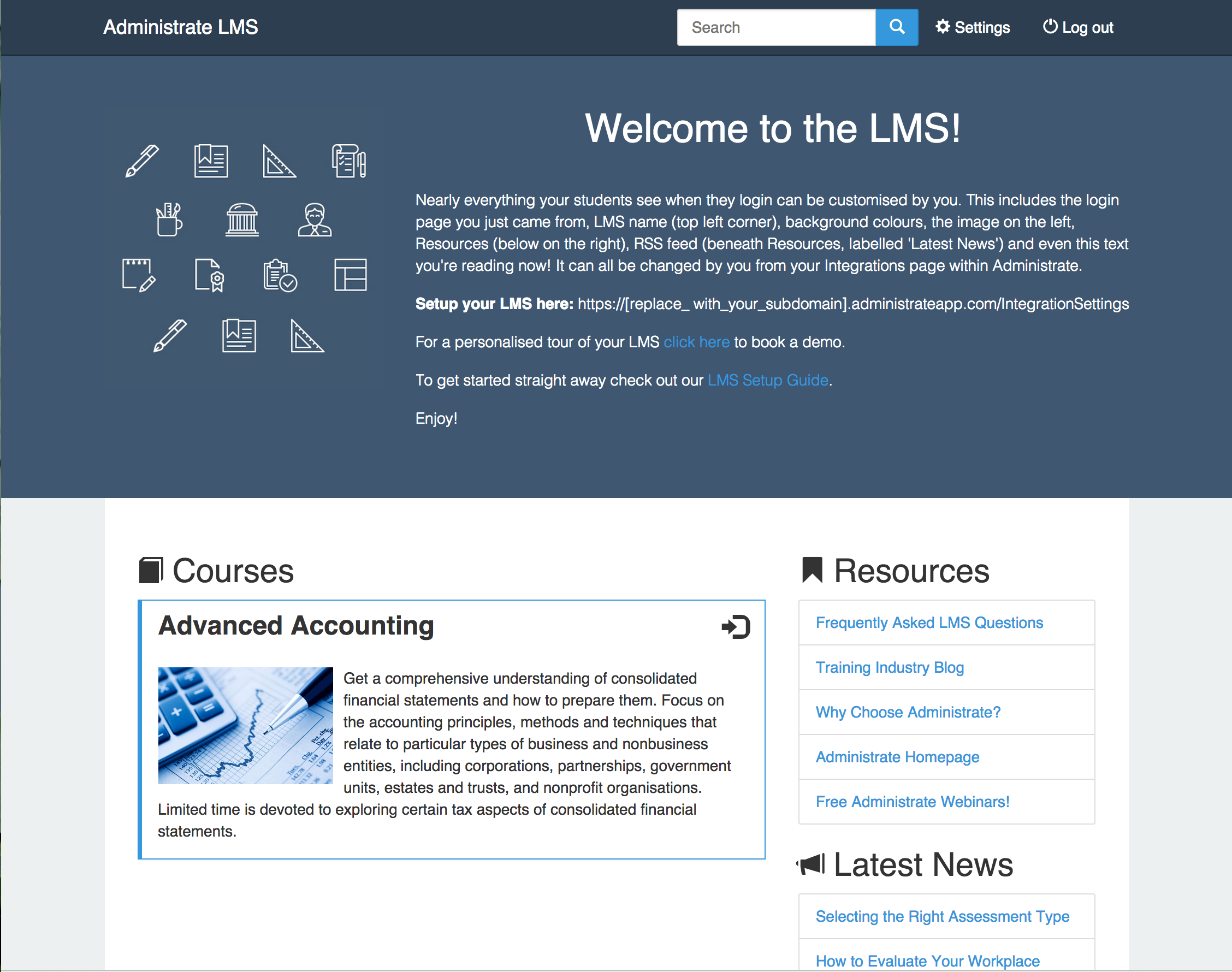 Administrate's Demo LMS Homepage