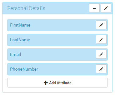 Section: Personal Details, Attributes: FirstName, LastName, Email, PhoneNumber
