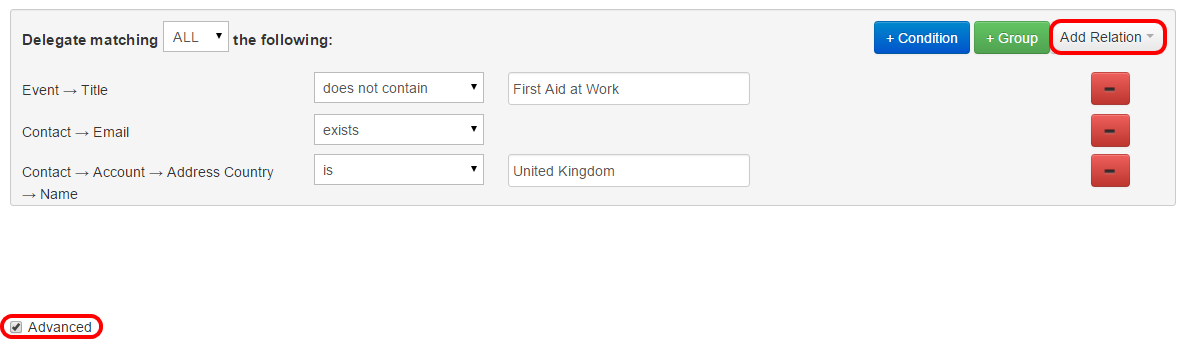 Tick the Advanced checkbox to reveal the Add Relation button