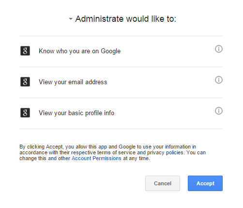 First time signing into Administrate through Google SSO