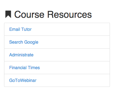 How course resources would appear on the LMS