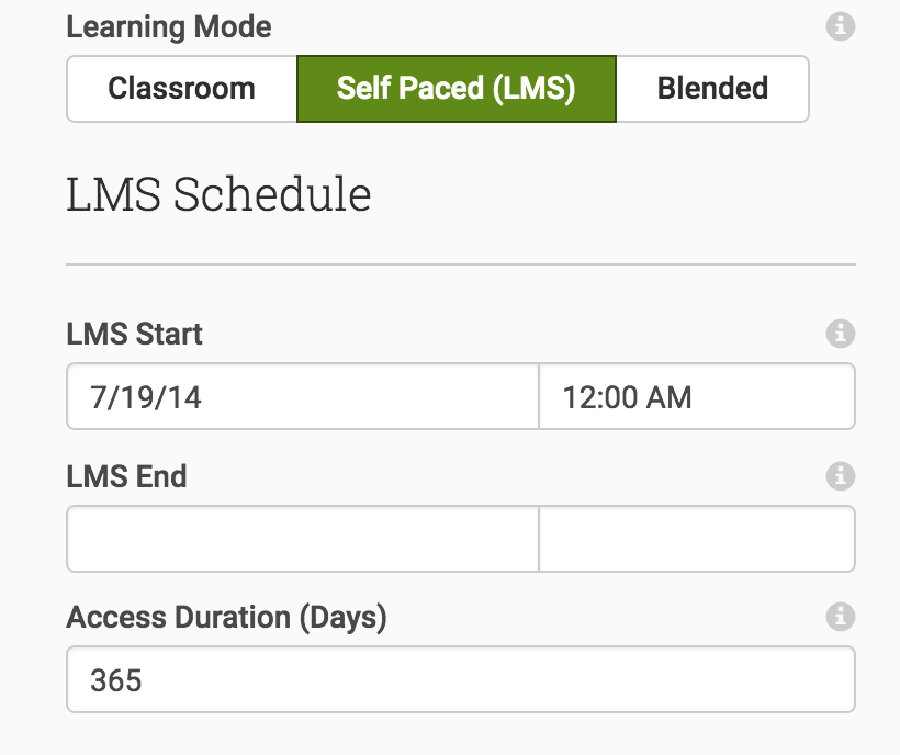 Set your Learning Mode and default Access Duration for student's LMS access