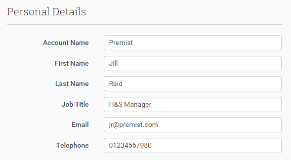 Personal Details that translate into Account and Contact information