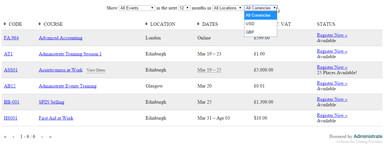 If your Events run over multiple currencies, a drop-down menu will appear allowing to sort by currency.