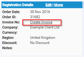 Create an Invoice from the Registration Details