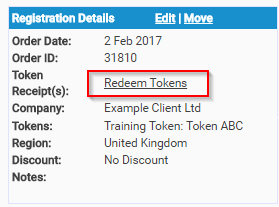 Redeem Training Tokens from the Registration Details