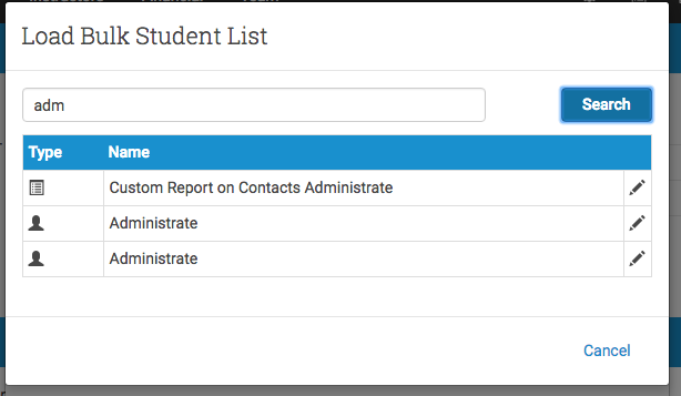 You can import a list of contacts from an Account or Custom Report.