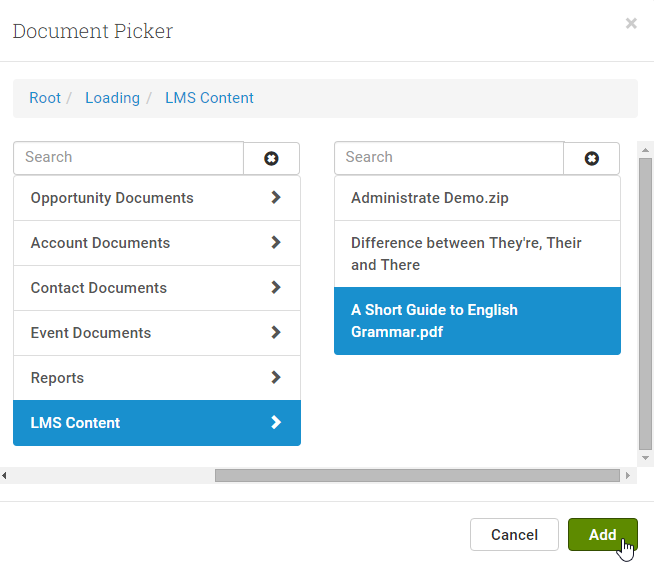 Use the Document Picker to navigate to your required document in the DMS