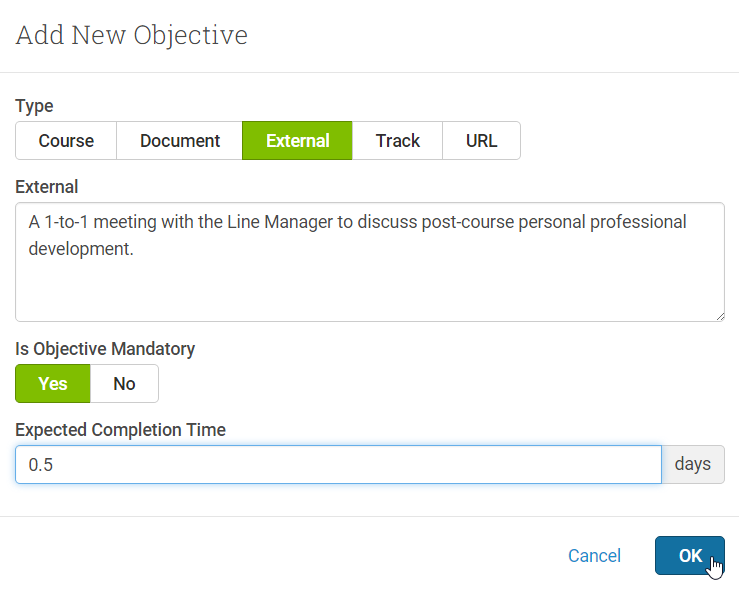 External Objectives let you specify your own content for students