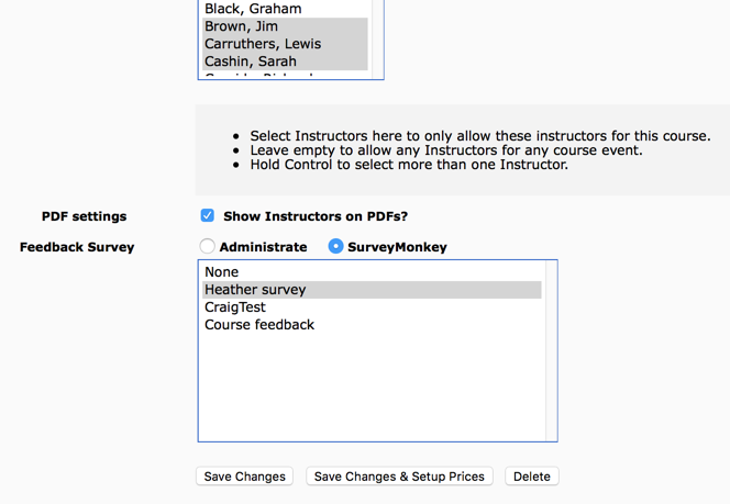 Select your SurveyMonkey Surveys in your Course Templates