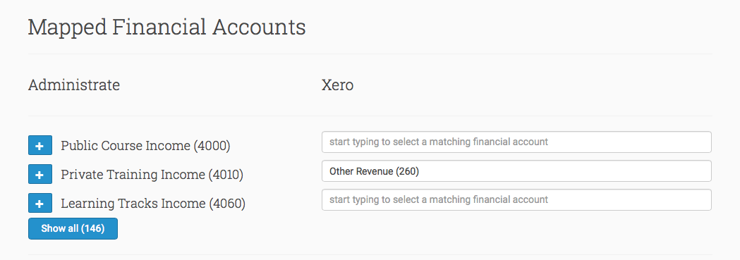 Map your Administrate Chart of Accounts to Xero