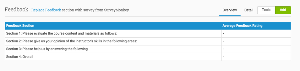 You can use any SurveyMonkey survey in the Event's Feedback section, using Replace Feedback