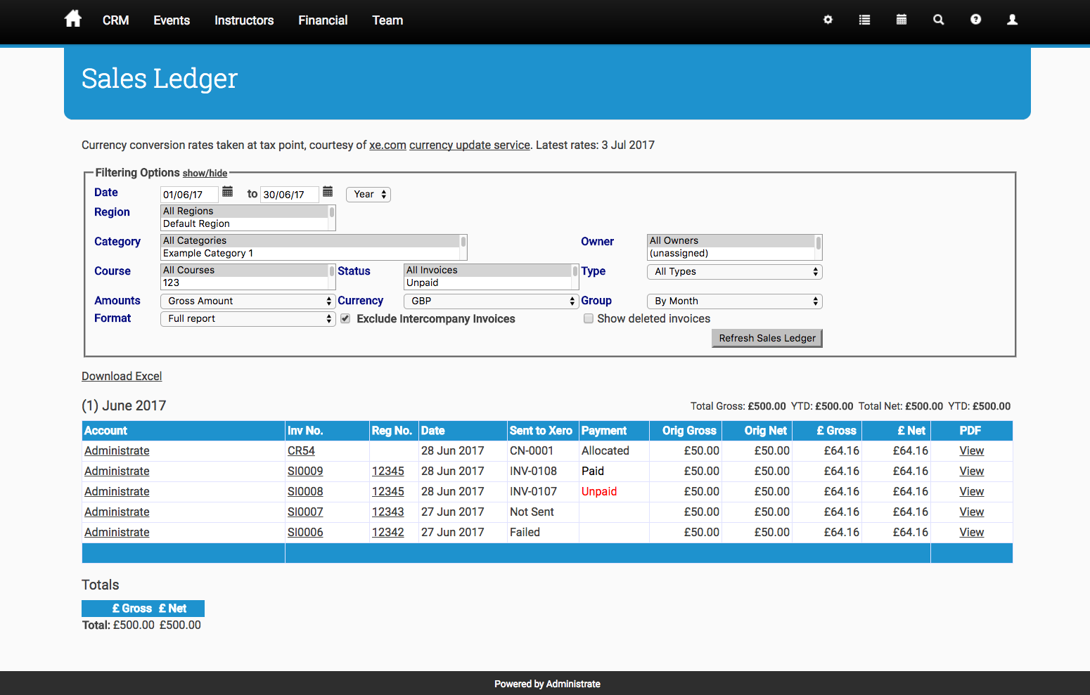 "Note the ""Sent to Xero"" and ""Payment"" columns in the Sales Ledger relate to Xero"