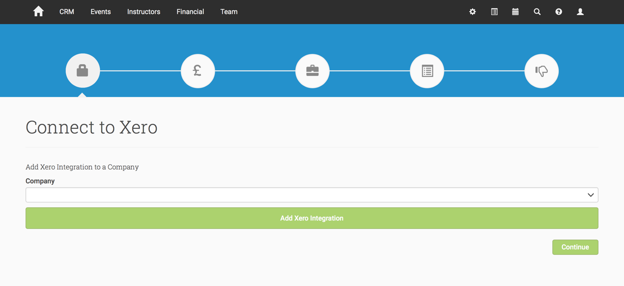 The Xero integration is a set up wizard with 4 steps (top circular panels)