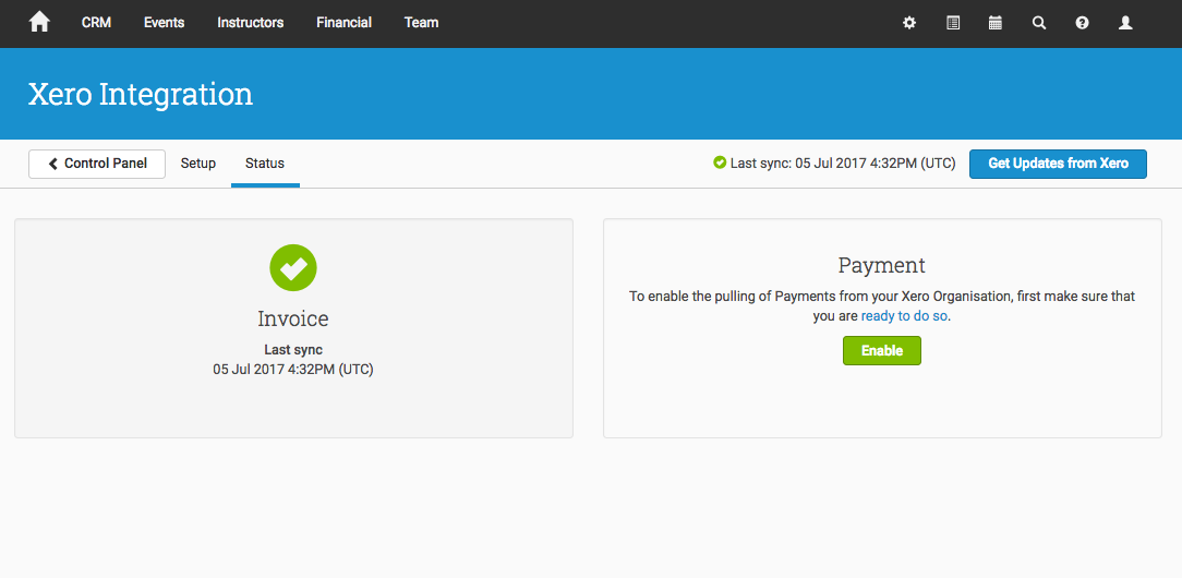 Switch on Payments through the Xero Integration's Status tab